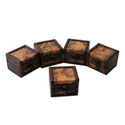 Vintage Wooden Map Storage Box Case Jewellery Cufflinks Chest Small Gifts