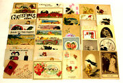 Lot Of 39 Assorted Antique/vintage Postcards Beads Christmas Easter Funny