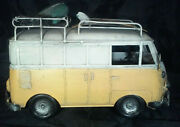 Vintage 1960's Look Tin Vw Bus Panel Van W/ Luggage, Spare Tire, And Surfboards