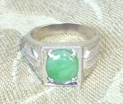 Antique Chinese 4.5k Natural Green Jadeite Jade 10k White Gold Ring Size6 Signed