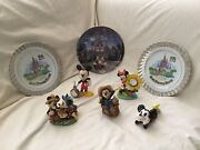 Disney Mickey And Minnie Mouse 2 Desk Clock 3figurines 3 Collector Plates Set Of 8