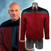 Cosplay The Next Generation Captain Picard Red Duty Uniform Jacket Tng Costume