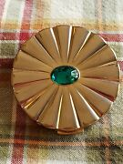 Vintage 1950's Rare Majestic Mirror Compact With Gold Sunburst Green Gem And Puff