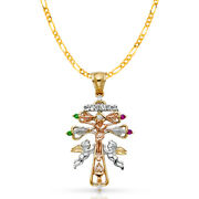 14k Tri Color Gold Cross Of Caravaca Pendant And 3.1mm Figaro 3+1 Chain Necklace