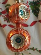 Antique Vtg Lrg Mercury Glass Christmas Tree Topper 2 Tier Triple Indent Germany