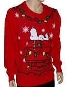 Mens Adult Snoopy Peanuts Light Up Ugly Christmas Sweater Party S M L Xl Xxl New