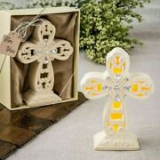 6-48 Glowing Ivory Color Standing Cross Statue With Led Light