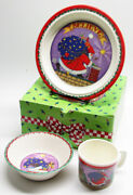 1994 Mary Engelbreit Babys First Christmas Melamine Cup, Plate, And Bowl Set Mint