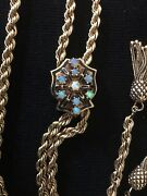 Beautiful Vintage 14 Kt Gold Rope Necklace With Tassels And Opal Slide