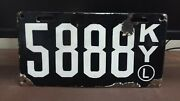 1911 Kentucky Porcelain 'l Second Issue License Plate Tag