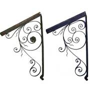 Pair French Antique Wrought Iron Architectural Door Awning Brackets C. 1900