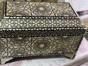 Vintage Handmade Wood Jewelry Box Inlaid Mother Of Pearl And Real Tortoise Back