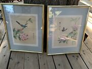 Vintage Chinese Watercolor On Silk Pair Of Paintings Signed Description On Back