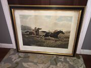 Original N. Currier And Ives Print The Pursuit Large Folio Indian Cowboy 1856