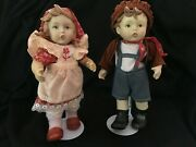 Goebel Style Porcelain Bisque Dolls Jointed Composite Body Boy And Girl Set