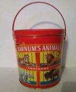 1991 Barnumandrsquos Animal Crackers Tin Pail Bucket With Red Plastic Handle