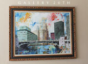 Wow Mid Century Modern Chicago Cityscape Painting Atomic Daily News Sun Times