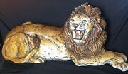 Vtg Large Glazed Chalkware Ceramic Lion Statue Figure Made In Italy 30 X 14