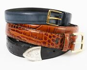Lot Of 3 Menand039s Leather Western Cowboy Belts Size 40 - 44 Black Brown Blue-gray