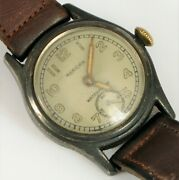 Antique Wwii Merican Wristwatch Trench Watch Sterling Silver Top For Repair