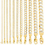 10k Yellow Gold Solid 2-12mm Diamond Cut Pave Cuban Curb Chain Necklace 16- 30