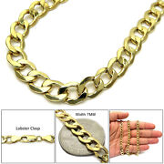 14k Real Yellow Gold Mens Womens 7mm Cuban Curb Link Chain Necklace 16-30