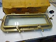 New Found Metals Polished Bronze Port Lite 20 X 6 W/ Screen And Trim Ring Box