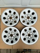 4 Used/nearly New Gmc Stock Silver Painted 17 Inch Wheel Rims W/ Oem Center Caps