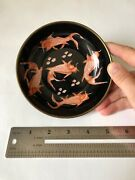 """Handpainted Chinese Goldfish Decorative Plate With Metal Frame And Back, 5x1.3"""""""