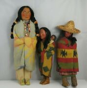 Vintage 1920and039s Skookum Native American 15 Dolls Man And Woman Papoose Elder Lot.