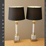 Pair Frederick Cooper Column Marble Lamps Mid Century Modern Atomic Age 50s 60s