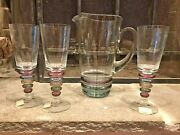 Lot Of 3 Block Crystal Carnival 8 Wine And 1 Glass Large Pitcher Rare Colorful