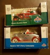 2 Santa's 29 Roadster, 37 Chevy Amoco Coin Banks Collectable Limited Edition