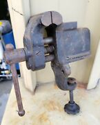 Antique Clamping Bench Vise Anvil Woodworking Machinist Blacksmith Tool Table