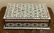 Egyptian Handmade Wood Jewelry Box Inlaid Mother Of Pearl 11.2x7.2