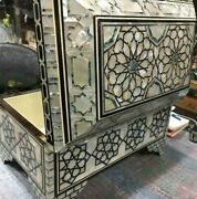 Egyptian Handmade Wood Jewelry Box Inlaid Mother Of Pearl And Ebony Andtortoise Back