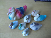Lot Of 8 Vintage 1930s Celluloid Duck And Swan Animal Figurines