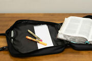 Black Envelope Pocket Microfiber Fabric Bible Cover Case With Handles 2x-large