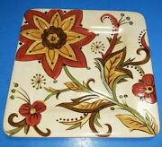 Pier 1 Carynthum 8in Plate Hand Painted Earthenware Ceramic Red Cream Green Euc