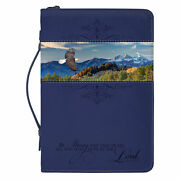 Flying Eagle Be Strong Take Heart Navy Blue X-large Faux Leather Bible Cover