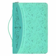 Blessed Are The Pure In Heart Teal Blue X-large Faux Leather Bible Cover