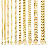 14k Yellow Gold Real 3mm-14.5mm Miami Cuban Link Chain Pendant Necklace 16-30