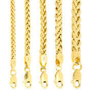 10k Yellow Gold 2.5mm-5mm Round Wheat Palm Franco Foxtail Chain Necklace 16 -30