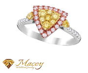 Canary Yellow And Pink Diamond 14k White Gold Trillion Halo Ring .94ct