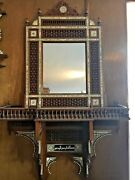 Antique Egyptian Wood Wall Shelf With Mirror, Hand Work Arabesque, Wall Console