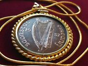 Rare 1937 Irish Penny Gold Filled Rope Bezel Pendant On A 24 Gold Filled Chain