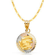 14k Tri Tone Gold Dc Stamp Baptism Charm Pendant And 2mm Figaro 3+1 Chain Necklace