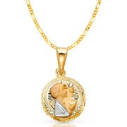 14k 3 Tone Gold Dc Stamp Communion Charm Pendant And 2mm Figaro 3+1 Chain Necklace