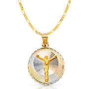 14k Tri Tone Gold Dc Jesus Stamp Charm Pendant And 3.1mm Figaro 3+1 Chain Necklace