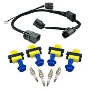 4 Ignition Coils Spark Plugs + Harness For S13 180sx 240sx Silvia Ca18det Pulsar